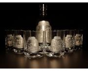Pohárová  súprava na Whisky -  fľaša + pohár 300 ml / 6ks+1ks
